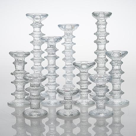"Timo sarpaneva, a 10-piece set of ""festivo"" glass candlesticks for iittala."