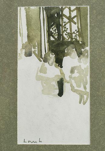 Lars lerin, watercolor, signed.