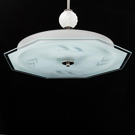 An art déco ceiling light.