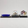 Bertil vallien, three kosta boda glass sculptures.