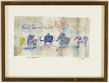 Madeleine pyk, mixed media on paper, signed.