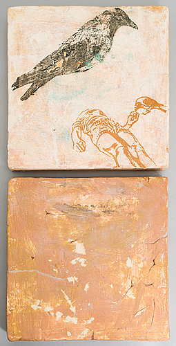 Anna hackman, a 'girl and crow' diptych, signed a. hackman 2004.