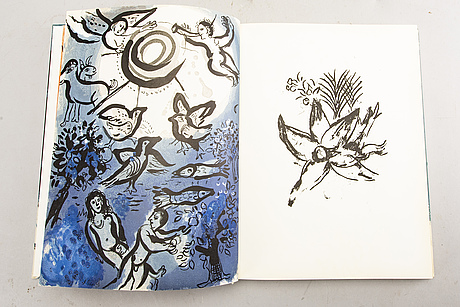 "Marc chagall,  bok, ""dessins pour la bible"", verve vol x, no 37-38. paris 1960."