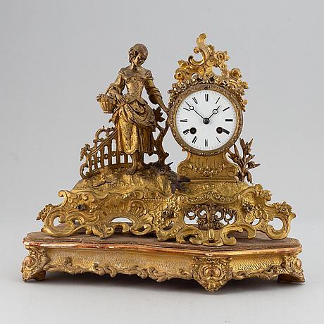 A 19th-century rococo-revival ormolu mantle clock.