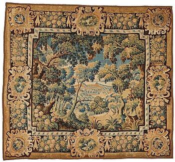 "231. Vävd tapet, ""Verdure"", gobelängteknik, ca 286-293 x  313-322 cm, Flandern 1600-tal."