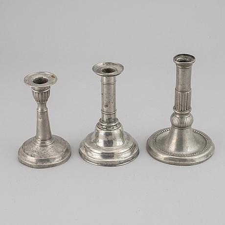 Three swedish pewter candlesticks, 19th century.