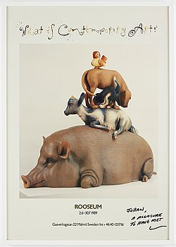 Jeff Koons, off set in colours, signed with dedication.
