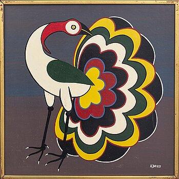 An 1970:s Adeuzi painting so called Tingatinga -painting, bicycle paint on masonite, signed.