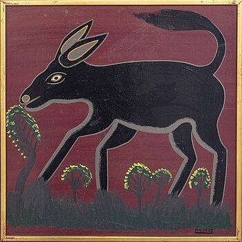 An 1970:s Kasper Henrik Tedo, so called Tingatinga-painting, bicycle paint on masonite, signed.