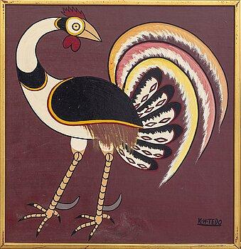 An 1970:s by Kasper Henrik Tedo so called Tingatinga- painting, bicycle paint on masonite, signed.