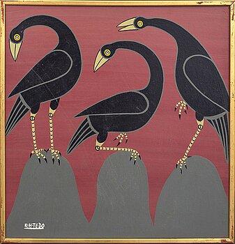 An 1970:s Kasper Henrik Tedo so called Tingatinga- painting, bicycle paint on masonite, signed.