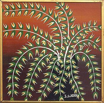 An 1970:s Seymond Mpata so called Tingatinga- painting, bicycle paint on masonite, signed.