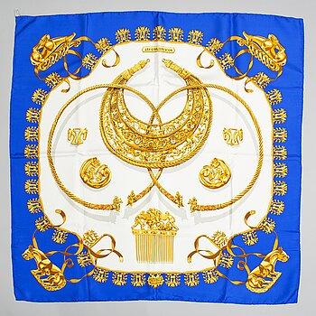Hermès, a 'Les Cavaliers d'Or', silk scarf.