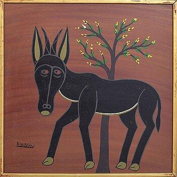 An 1970:s Abdellehamani Hasani so called Tingatinga- painting, bicycle paint on masonite, signed.