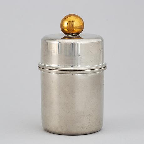 Firma svenskt tenn, a pewter lidded jar, stockholm 1968.