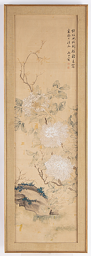 Yun shouping (1633-1690), his school, after, a chinese painting, ink and colour on silk, 20th century.