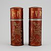 A pair of pewter boxes with liners, china, presumably early 20th century.