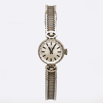 Wrietwatch Belina, 18K whitegold 2 single-cut diamonds, 15 mm, manual.