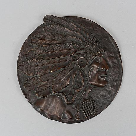 Väggrelief / väggplakett, brons, omkring år 1900.