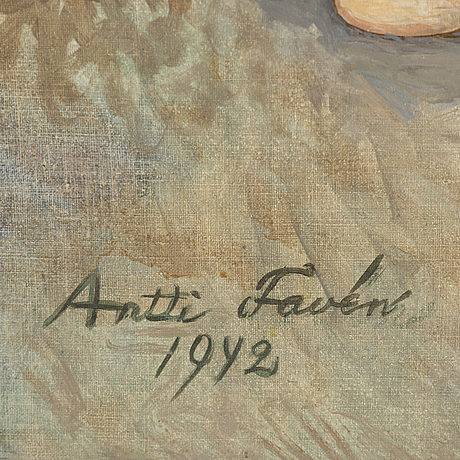 Antti favén, oil on canvas/paper-panel, signed and dated 1942.