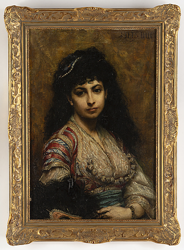 Jean jules badin, oil on canvas, signed and dated 1877.