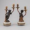 Kandelabrar, ett par, louis xvi-stil, frankrike, 1800-talets andra hälft.