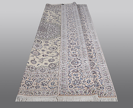 A carpet, nain, so called 6 laa, part silk, 364 x 252 cm.