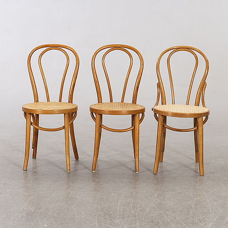 A set of six bentwood chairs.