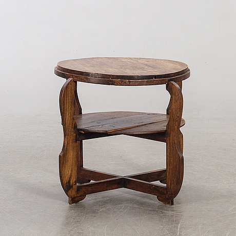 A small wooden coffee table.