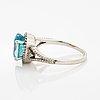 Oval blue zircon and eight-cut diamond ring.