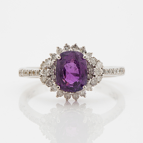 Pink purple sapphire and eight-cut diamond ring.