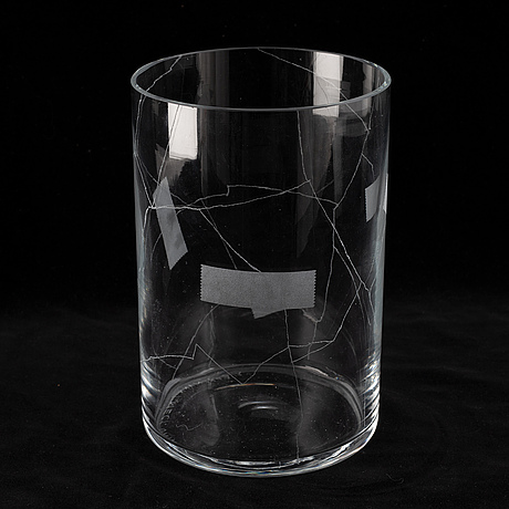 Yrjö edelmann, an unique glass vase, signed and made year  2000.