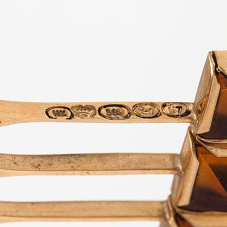 Kaulakoru, 14k kultaa, sitriineja. h. kaksonen oy, helsinki 1967.