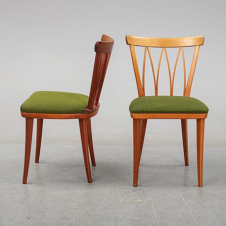 Carl malmsten, a set of five chairs.