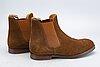 A pair of brown suede 'gresham' crockett & jones boots.