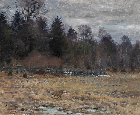 Lindorm liljefors, oil on panel, signed and dated -45.