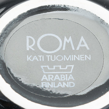 Kati tuominen-niittylä, two 'storybirds' pitchers and a 2-piece 'roma' serving bowl, for arabia, finland.