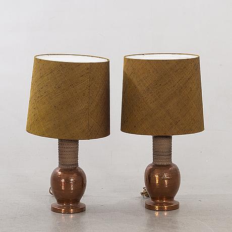 Bordslampor, ett par, bitossi, för bergboms, 1960-70-tal.