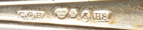 "Bestick, bl a fiskbestick, 46 delar, silver, modell ""svensk"", 1900-tal."