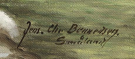Jens christian bennedsen, a signed oil on canvas.
