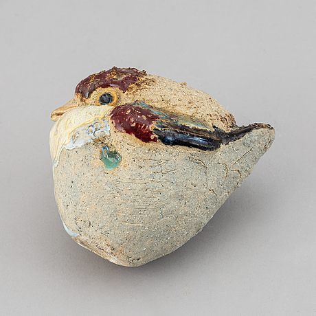 Tyra lundgren, a stoneware sculpture of a bird, impressed mark tyra lundgren.