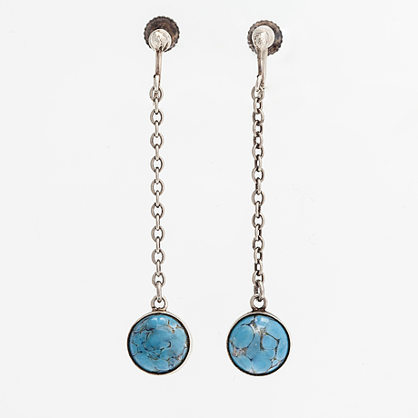 Holger lindström, a pair of silver earrings with glass beads. helsinki 1959.
