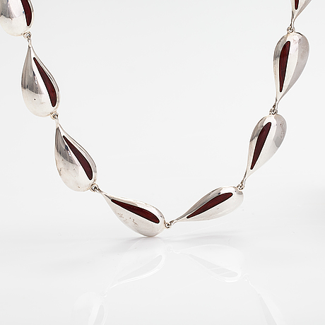 Juhani linnovaara, a sterling silver and enamel necklace. lapponia 1976.