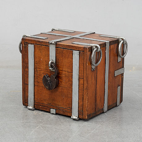 A 19th century pine strong box.