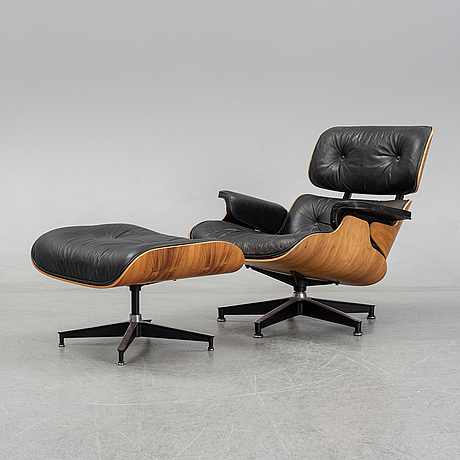 Charles and ray eames, a 'lounge chair' and stool from herman miller, usa, 1960's.