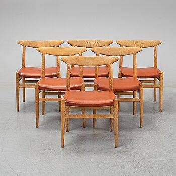 Six model W2 oak chairs by Hans Wegner for C.M. Madsen, designed 1953.