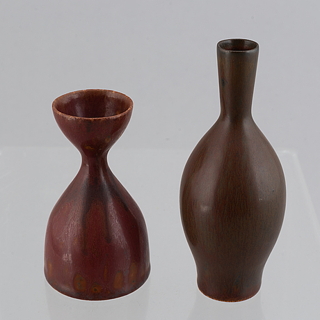 Carl-harry stålhane, two small glazed stoneware vases, rörstrand.