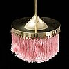 Hans-agne jakobsson, a brass and textile fring ceiling light, 1960's/70's.
