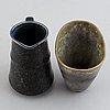 Carl-harry stålhane, a glazed stoneware jug and vase, rörstrand.