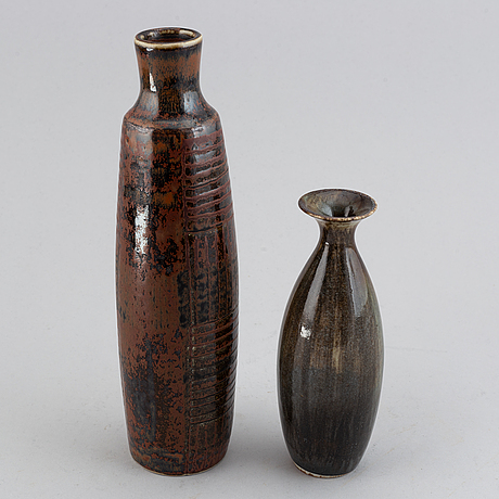 Carl-harry stålhane, two glazed stoneware vases, rörstrand and designhuset.